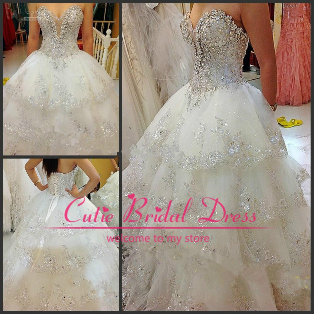 High Quality 2014 Latest Gorgeous Sweetheart Lace Up Crystal Wedding Dress Luxury Ball Gown Sweep Train Bridal Gown-in Wedding Dresses from Apparel & Accessories on Aliexpress.com | Alibaba Group