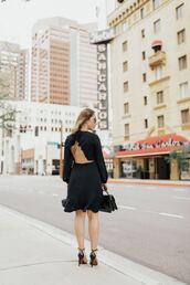 dress,open back,open back dresses,sexy,ruffle dress,sandals,dating outfit,little black dress,handbag,blogger,blogger style