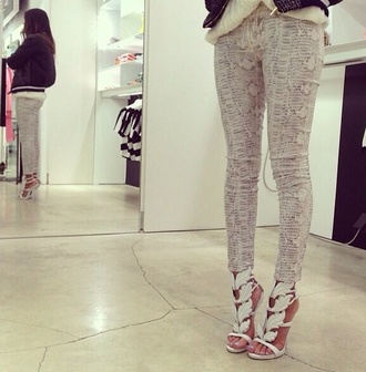 pants white lace snake print
