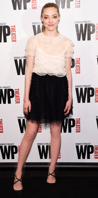 blouse skirt lace amanda seyfried shoes