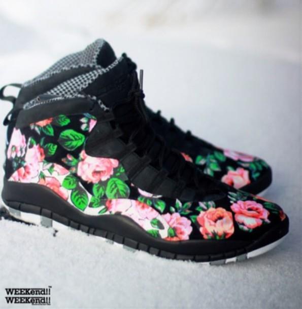 shoes floral shoes jordans jordan 10 girly dope garden of ferra jordans