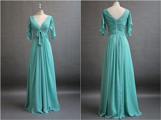 dress long  evening dresses long party dress high quality evening dresses green dress prom dress mint v neck dress evening dress party dress miley cyrus maxi dress gown long dress classy