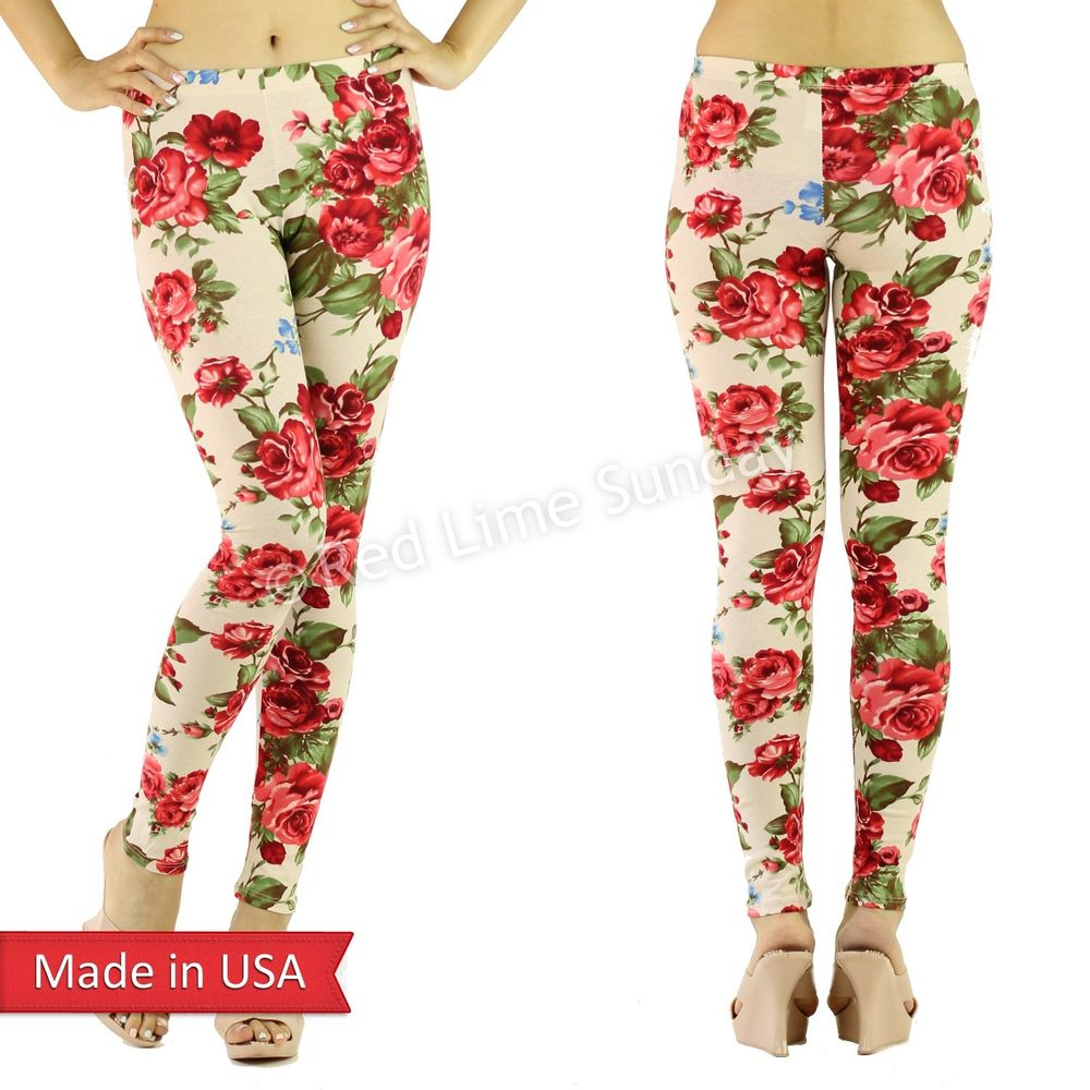 Women Cute Beige Color Red Floral Flower Print Soft Leggings Tights Pants USA