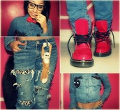 shoes,red,jeans,denim,ripped,leopard print,DrMartens