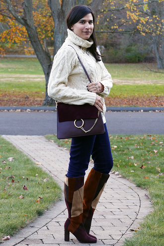 closetfashionista blogger sweater jeans jewels shoes bag turtleneck sweater shoulder bag boots fall outfits