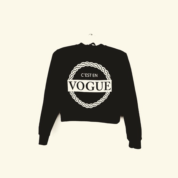 black sweater crop tops cropped sweater rihanna style style celebrity style celeb street style streetwear streetwear cool girl style cool shirts beyonce fashion pretty little liars vogue crop tops vogue shirt vogue sweater kylie jenner quote on it french