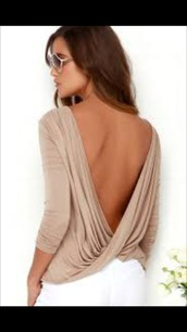 blouse,top,backless,backless top,open back,twists,long sleeves,long sleeve crop top,sexy,summer,cute,draped,beige,casual,open back top,shirt