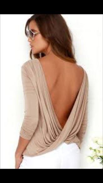 blouse top backless backless top open back twists long sleeves long sleeve crop top sexy summer cute draped beige casual