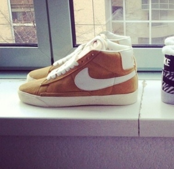 shoes basket nike nikeblazer nike blazer camel