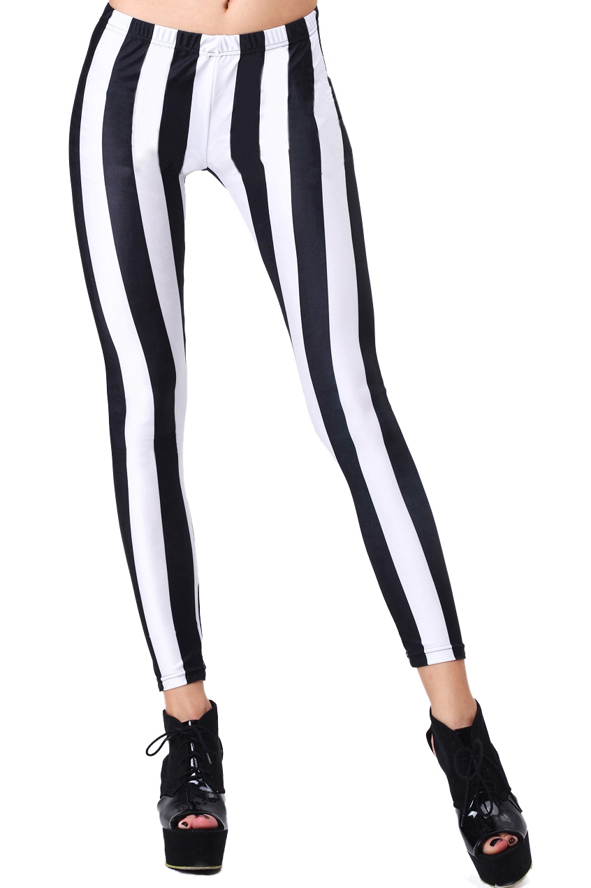 294520c4de65b ROMWE | ROMWE Vertical Stripe Black-White Leggings, The Latest ...