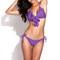 Lined ruffle triangle brazilian bikini set