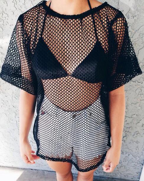 t-shirt t-shirt blouse style summer dress shorts bikini black t-shirt black mesh mesh top shirt mesh blouse