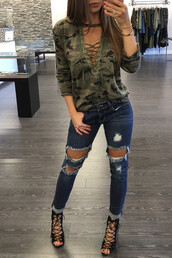 t-shirt,camouflage t-shirt,hollow out t-shirt,hot sale,new arrival,fashion,women clothes,lace up t shirt