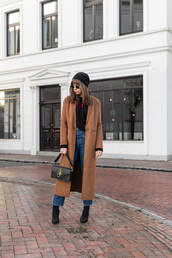 coat,tumblr,brown coat,denim,jeans,blue jeans,long coat,beanie,black beanie,boots,black boots,bag,black bag