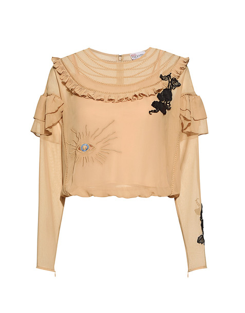 RED VALENTINO blouse chiffon embroidered cropped ruffle nude top