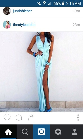 dress blue dress elegant fashion sexy