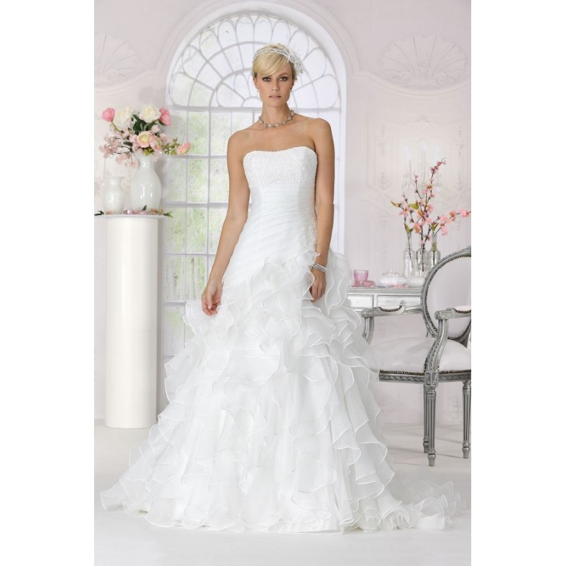 Style 9157 by Très Chic - Tulle Floor Strapless A-Line Wedding Dresses - Bridesmaid Dress Online Shop