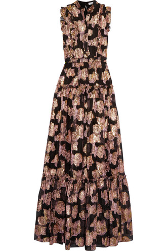 gown metallic black dress