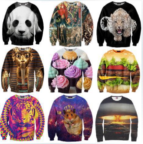 New 2013 2014 Winter Women/Men Space print Galaxy hoodies Sweaters Pullovers panda/tiger/cat animal 3D Sweatshirt Tops T Shirt-in Hoodies & Sweatshirts from Apparel & Accessories on Aliexpress.com