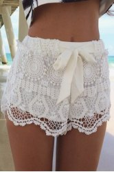 Drawstring solid color lace stylish shorts for women (white,m)