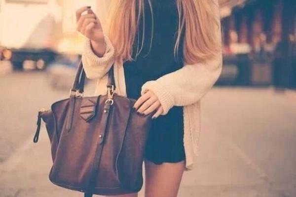 bag beige jacket brown leather bag