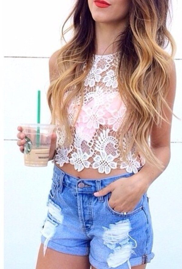 t-shirt cream boho ebonylace-streetfashion blouse shorts