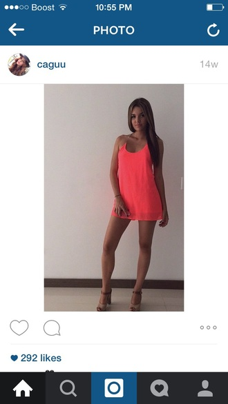 dress pink hot pink coral shift loose tank top straps summer neon