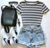 bag,shoes,shorts,t-shirt,love,stripes,gray and white,crop tops,striped top,denim shors,light blue,nikes,sunglasses,black backpack,watch,High waisted shorts,black leather backpack,blouse,grey,white,top,cool,black,need more sleep,shirt