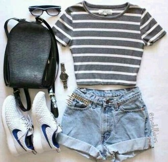 bag shoes shorts t-shirt love stripes gray and white crop tops striped top denim shors light blue nikes sunglasses black backpack watch high waisted shorts black leather backpack blouse grey white top cool black need more sleep shirt denim shorts
