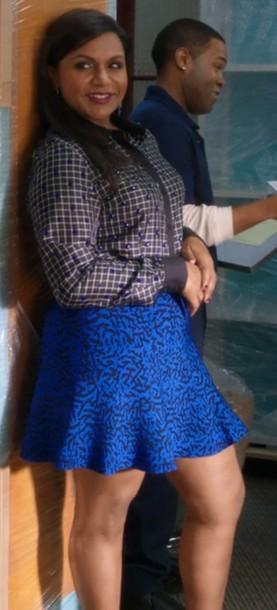 shirt grid silk the mindy project mindy lahiri mindy calling skirt