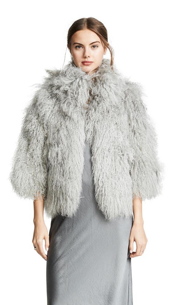 Adrienne Landau Mongolian Lamb Jacket in grey