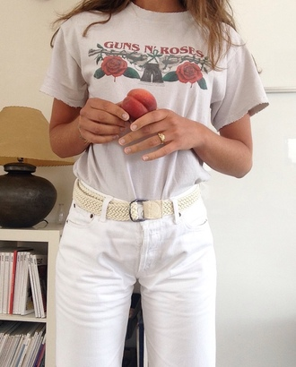t-shirt tumblr tumblr outfit guns and roses graphic tee grey t-shirt jeans white jeans belt ring
