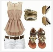 shirt,sheer,tan,peplum,peplum top,sheer shirt,nude shirt,outfit,flat sandals,white shorts