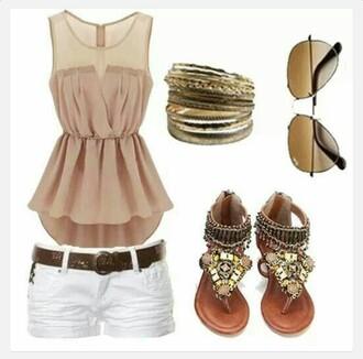 shirt sheer tan peplum peplum top sheer shirt nude shirt outfit flat sandals white shorts