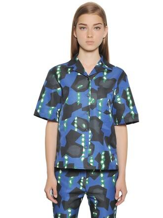 shirt cotton blue green top