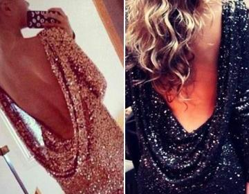 Women open back sequins long sleeve..