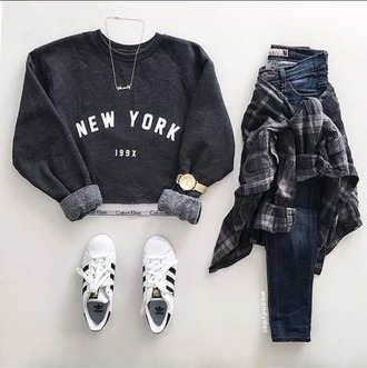 sweater clothes new york shirt hipster women adidas shoes adidas adidas originals gold gold chain gold watch calvin klein underwear calvin klein flannel shirt flannel pants blue jeans white sneakers white adidas shoes white adidas grey grey sweater