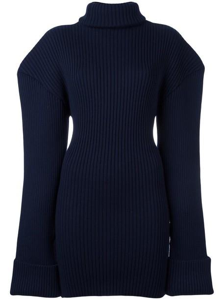 Jacquemus dress knitted dress women blue wool