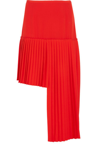 Stella McCartney - Arianna Asymmetric Pleated Wool-crepe Skirt - Tomato red