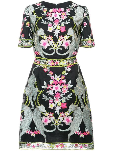 Marchesa Notte dress mini dress mini embroidered women floral black