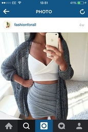 cardigan,skirt,crop tops,cute,lovely,hot,sexy,girly,girl,women,nice,beautiful,pretty,body,party,love,jewels,jacket,oversized cardigan,sweater,sweater weather,winter outfits,fall outfits,spring,summer,outfit,outfit idea,classy,classy dress,fabulous,celeb,body goals,tank top,crop,fall sweater,fall accessories,grey,gray wrap skirt,mini skirt