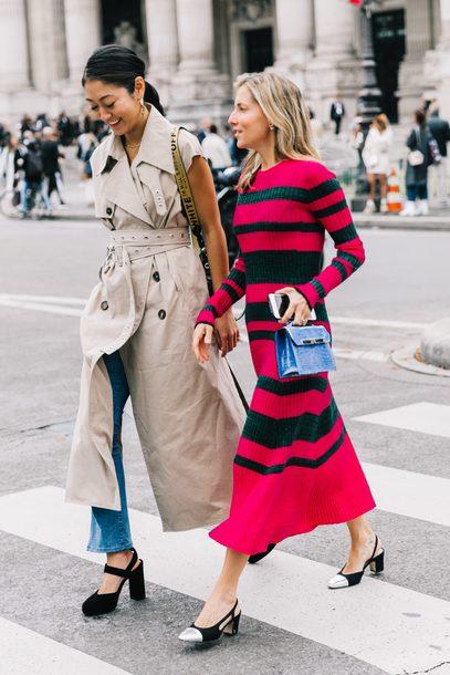 dress tumblr midi dress stripes striped dress knit knitted dress long sleeves long sleeve dress shoes slingbacks coat trench coat sandals streetstyle