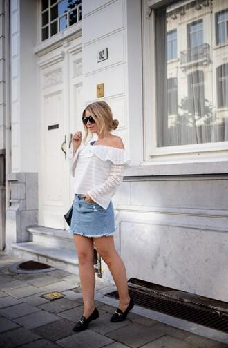 top tumblr off the shoulder off the shoulder top denim denim skirt mini skirt shoes loafers skirt