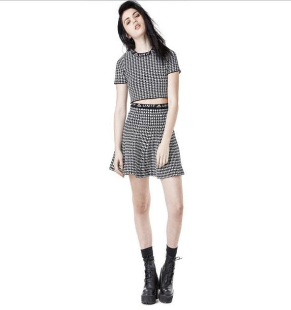 shirt crop tops unif urban skirt top