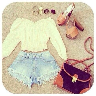 blouse white blouse shoes bag top t-shirt style outfit sunglasses glasses high heels jewels watch shorts blue brown bag inlove girly