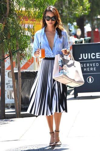 skirt midi skirt stripes striped skirt jamie chung sandals shirt summer outfits blogger