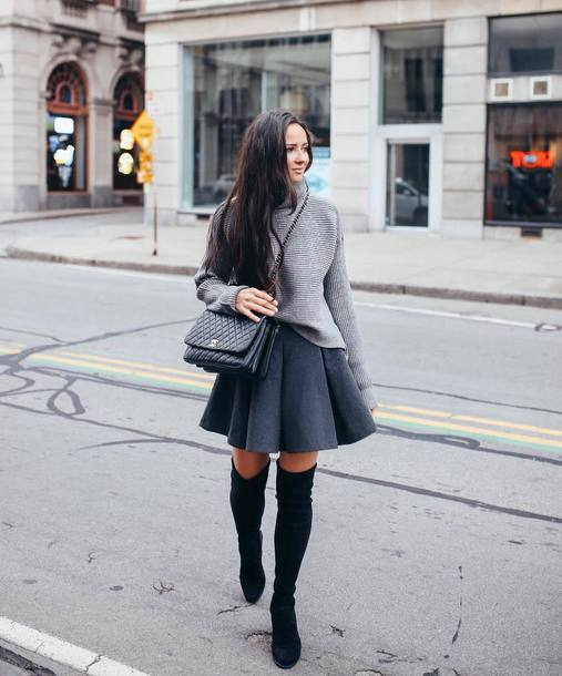 184b8bf14 shoes boots suede boots black boots thigh high boots mini skirt sweater  shoulder bag