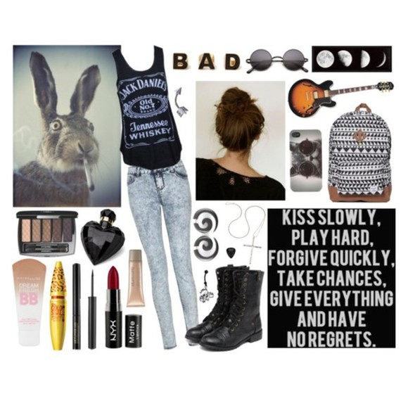 black tank top tank top black jack daniel's guitar bad earrings gauge fake ear stretchers messy bun rabbit smoking swag jeans backpack moon phases moons eyebrows peircing belly button ring shoes glasses black glasses hipster indie makeup combat boots bag