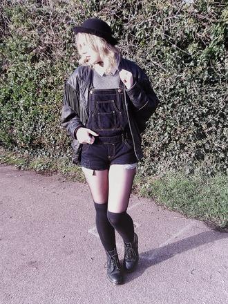 the velvet black grunge blogger jacket denim overalls fringes hat short overalls