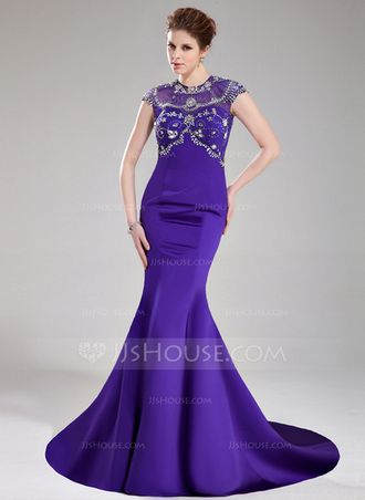 dress trumpet/mermaid scoop neck court train satin tulle prom dress with beading sequins